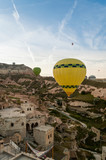 closeup view of hot air balloons fliyng over city, Cappadocia, Turkey