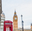 Central London, England with famous landmark sights Big Ben and parliament in Westminster