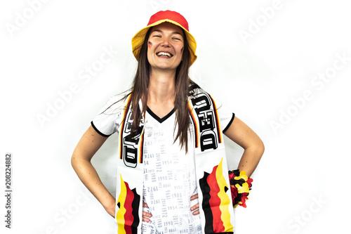 Fotobehang Voetbal Frau jubelt für Deutschland
