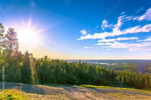 Canvas Blauwe hemel Summer landscape from Sotkamo, Finland.