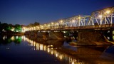 Night time-lapse of the New Hope-Lambertville Bridge that spans the Delaware River on the border of Pennsylvania and New Jersey. - 208226492