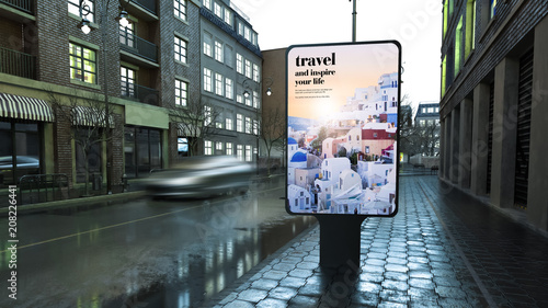advertising travel billboard on city street at evening