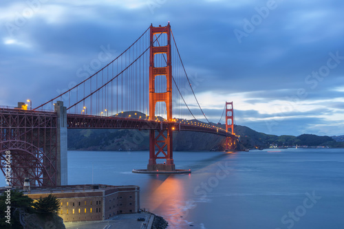 Plakat Golden Gate Bridge at evening light, San Francisco