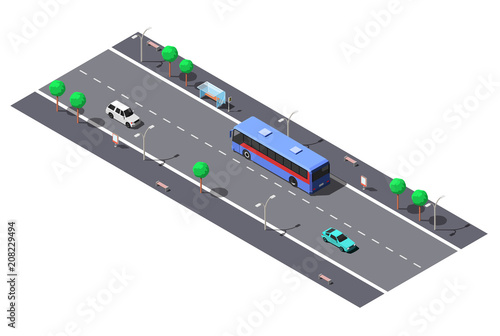 Fototapeta City street with 2-lane road and bus stop. Vector isometric illustration