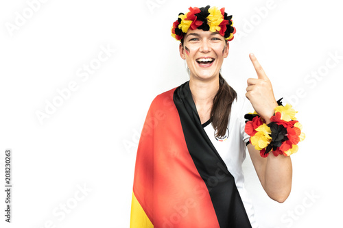 Aluminium Voetbal Frau jubelt für Deutschland