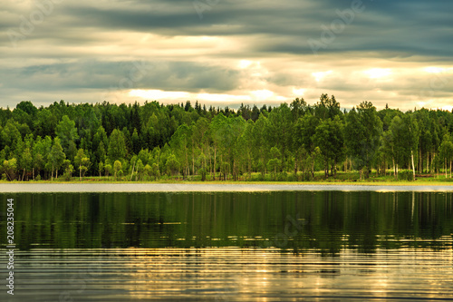 Landscape with forest and lake. - 208235044