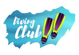 Diving club. illustration with flippers - 208235473