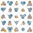 Abstract three dimensional shapes set, vector designs. - 208236084