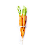 Bunch of fresh organic carrots on white background; flat lay - 208236288