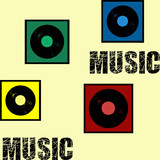 Retro style music text design illustration with vinyl record decoration in colorful squares on yellow background