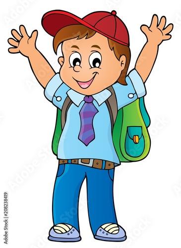 Canvas Voor kinderen Happy pupil boy theme image 1