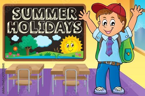 Canvas Voor kinderen Happy pupil boy theme image 2
