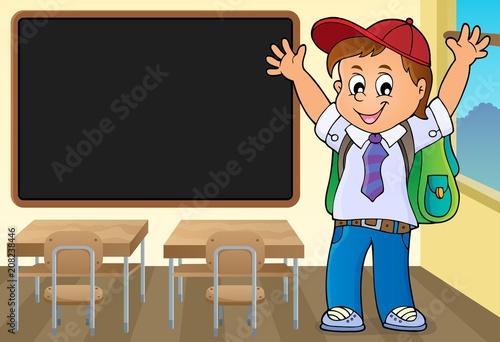 Canvas Voor kinderen Happy pupil boy theme image 3