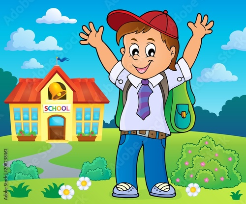 Canvas Voor kinderen Happy pupil boy theme image 4