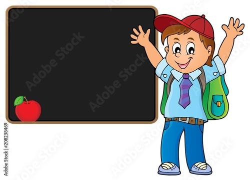Canvas Voor kinderen Happy pupil boy theme image 5