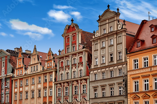 Fototapety, obrazy : Central market square in Wroclaw Poland with old colourful houses. Travel vacation concept
