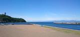 日本 神奈川 江ノ島の海と砂浜 青空 Japan enoshima sea and beach