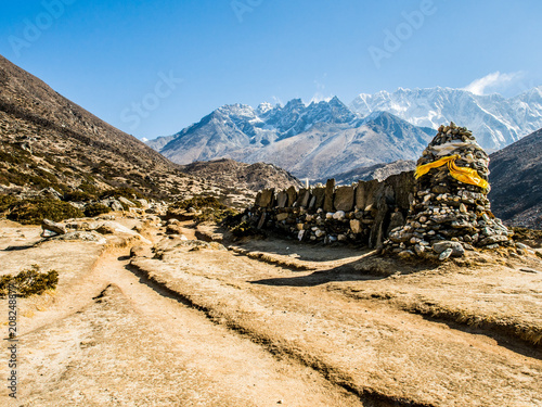 Aluminium Beige Beautiful Himalaya snow mountain views on route to Everest Base Camp