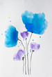 Blue wildflowers watercolor painting on paper using paint brushes