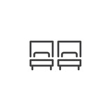 Hotel Twin bed room outline icon. linear style sign for mobile concept and web design. Two single beds simple line vector icon. Symbol, logo illustration. Pixel perfect vector graphics - 208253010