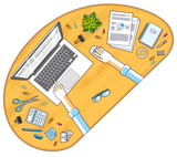 Office employee or entrepreneur work desk workplace with hands and PC notebook and diverse stationery objects for work, top view. All elements are easy to use separately. Vector illustration. - 208255221