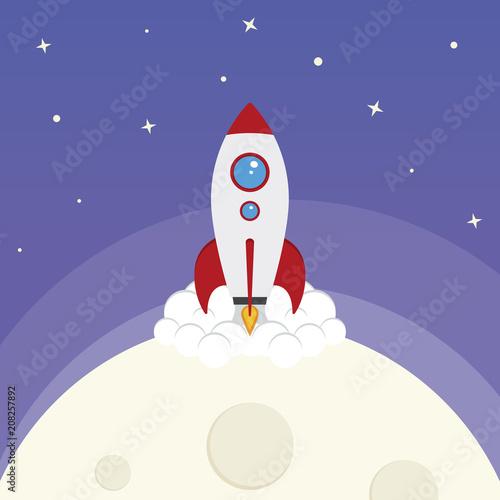 Fototapeta Cartoon Vector Space Rocket