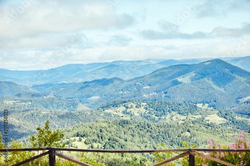 Aluminium Lichtblauw Landscape of mountains in the Carpathians