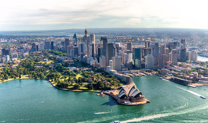 Aerial view of Sydney Harbor and Downtown Skyline, Australia © jovannig