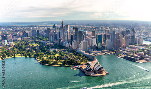 Aluminium Sydney Aerial view of Sydney Harbor and Downtown Skyline, Australia