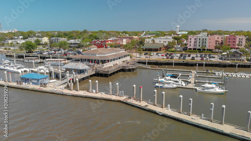 AMELIA ISLAND, FL - APRIL 1, 2018: Coastline of Fernandina Beach, aerial view. This is a famous attraction for tourists in Florida