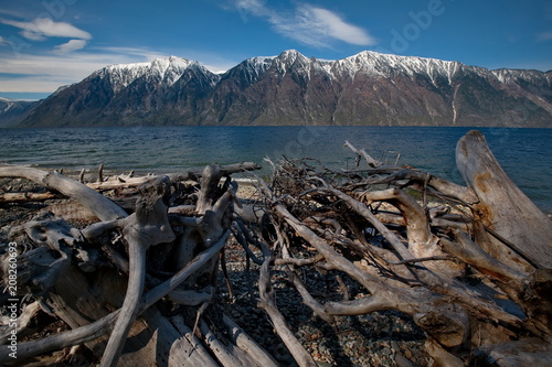 Aluminium Nachtblauw Russia. The South Of Western Siberia. Mountain Altai. Late spring on the shore of lake Teletskoye.