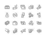 Simple Set of Money Related Vector Line Icons. Contains such Icons as Wallet, ATM, Bundle of Money, Hand with a Coin and more. Editable Stroke. 48x48 Pixel Perfect. - 208261811