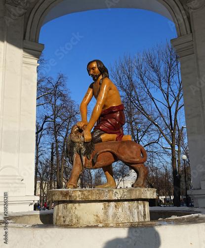 Aluminium Kiev Ancient 1749 Samson fountain sculpture in Kiev on Kontraktova Square on a spring day