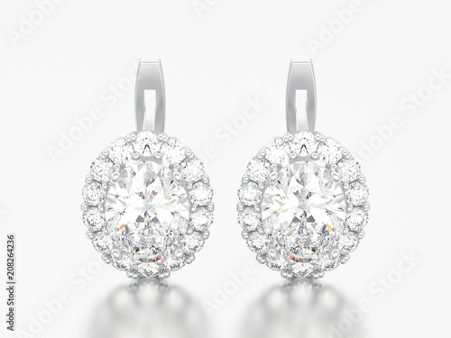 3d Illustration Silver Diamond Earrings With Oval Gemstone With