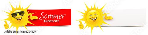 Cartoon Sonne präsentiert mit Daumen hoch Geste - Sommer Angebote Banner Set  © Artenauta
