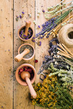 Gathering of Medicinal Wild Herbs Treatment Wooden Background Vintage Rural Country Style, mortar - 208270028
