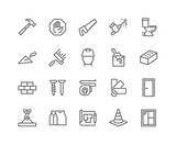 Simple Set of Construction Related Vector Line Icons. Contains such Icons as Welding, Crane, Hammer, Nails and more. Editable Stroke. 48x48 Pixel Perfect. - 208271605
