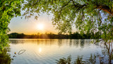 Fototapeta Sypialnia - Lake with trees at sunset on a beautiful summer evening © John Smith