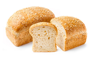 Bread with bran on a white background