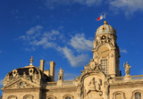City hall (Hotel de Ville) of the city of Lyon in the warm, evening sunlight. France.