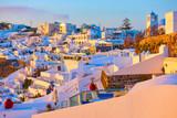 Thira town in Santorini Island at sundown - 208273605