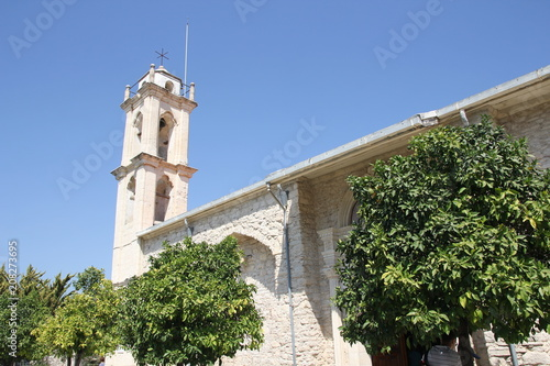 Canvas Cyprus High stone bell tower of the historic Christian Church