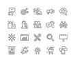 Simple Set of Marketing Related Vector Line Icons. Contains such Icons as Mail Marketing, Target Audience, Keywording, Product Presentation and more. Editable Stroke. 48x48 Pixel Perfect.