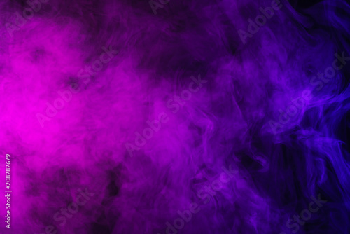 abstract pink and purple smoke on black background - 208282679