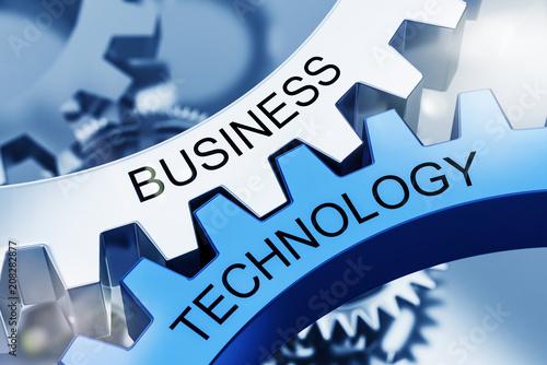 Leinwanddruck Bild BUSINESS TECHNOLOGY on Metal Cog Gears. 3d Concept
