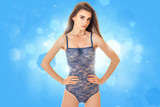Sexual young lady in blue body lingerie