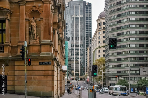 Fotobehang Sydney Street and buildings in downtown Sydney, Australia.