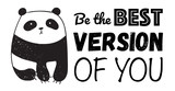 Vector cartoon poster illustration with cute panda and text. Perfect for postcard, birthday, baby book, children room.