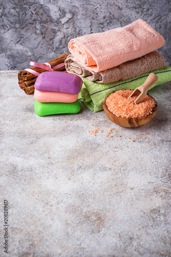 Spa treatment with salt, soap and towel - 208289617