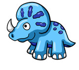 Happy Blue Triceratops